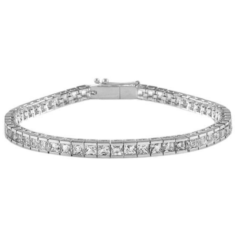 Sterling Silver Cubic Zirconia Rhodium Bracelet